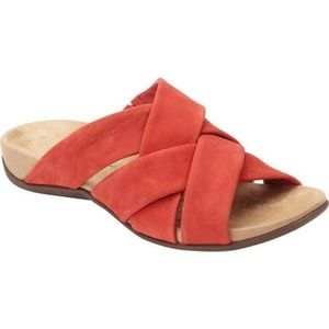Vionic Woven Suede Strap Red Slip On Shoes Size 7